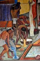 Pic 11: Natural colour dyes in use in pre-Hispanic Mexico: detail of mural by Diego Rivera, National Palace, Mexico City