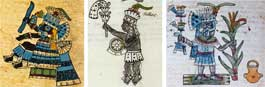 Pic 14: The god Tlaloc and his representative during the festival of Etzalcualiztli.  Sources: Codex Borbonicus, plate 23 (detail). Bernardino de Sahagún, 'Primeros Memoriales' folio 261v (detail). Codex Magliabechiano, folio 34r (detai