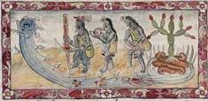 Pic 16: Priests of the water goddess Chalchiuhtlicue, with marks of rubber on their faces.  Durán, Diego, 'Historia de las Indias de Nueva España e Islas de la Tierra Firme' folio 143r (detail)