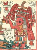 Pic 17: Chicomecoatl, the goddess of harvest, with her cheeks painted with two parallel bars of rubber. Tonalamatl Aubin, plate 7 (detail)
