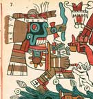 Pic 5: The god Tlaloc with two different black materials on his face and his limbs. Tonalamatl Aubin, plate 7 (detail)