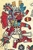 Pic 6: The fire god Xiuhtecuhtli with his chin painted with soot-based ink. Codex Borbonicus, plate 20 (detail)