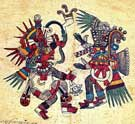 Pic 7: The gods Quetzalcoatl and Tezcatlipoca with their bodies painted with soot-based ink. Codex Borbonicus, plate 22 (detail)
