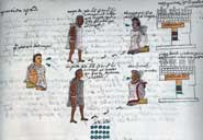 Pic 9: The children educated in the calmecac (in the upper register) and the telpochcalli (in the lower register), and their respective teachers. All are painted with soot-based ink. Codex Mendoza, folio 61r (detail)