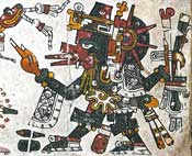 Pic 11: The god Quetzalcoatl, with his legs and arms painted black and adorned with gray concentric circles. Codex Borgia, plate 19 (detail)