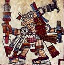 "Pic 12: The god Mixcoatl with his ""star painting"", that is, his eye sockets blackened with the ashes of a goddess. Codex Vaticanus B, plate 70 (detail)"