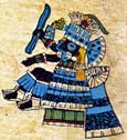 "Pic 15: The god Tlaloc holding a lightning bolt in the form of a flattened ""S"". Codex Borbonicus, plate 23 (detail)"