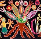 Detail from a traditional Huichol yarn weaving celebrating the worship of corn/maize