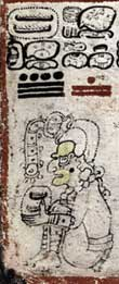 Pic 4: The Maya creator diety Itzamna, cacao-collecting. From the Dresden Codex: 6c-7c Frame: 2. Image courtesy of Vail, Gabrielle, and Christine Hernández (2013) The Maya Codices Database, Version 4.1