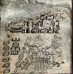 Pic 5: Dresden Codex Maya Hieroglyphic Text of Almanac: 25 - 28 Frame: 1, showing an opossum Mam carrying the rain god Chaak or the god of sustenance K'awil in a carrying frame on his back. Image courtesy of The Maya Codices Database, Version 4.1
