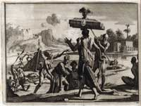 Pic 7: Scene of Native Americans of Mexico carrying goods to market. By Door Pieter Vander Aa (1707) 'Naaukeurige versameling der gedenk-waardigste zee en land-reysen na Oost en West-Indiën ... zedert het jaar 1519 tot 1521'