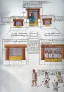 Pic 16: The Palace of Motecuhzoma, showing the ruler seated in the uppermost chamber and his council is in the lower right chamber. From the Codex Mendoza, f. 69r