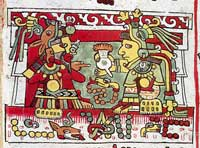 Pic 3: 8-Deer ('Jaguar Claw') receives a jug of cacao from the hands of his wife 13-Snake ('Flower Snake'), Codex Zouche-Nuttall pl. 26