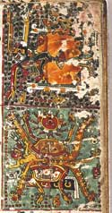 Pic 13: The Birth of the Macuiltonaleque and Cihuateteo. Codex Borgia, p. 47