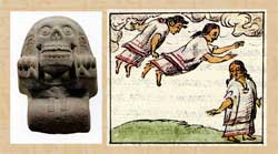 Pic 16: Statue of a Cihuateotl (left), National Museum of Anthropology, Mexico City; 'descending goddesses', Florentine Codex Book IV, right