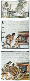 Pic 17: The Temacpalitotique, Florentine Codex, Book 10.f.27r and Book 4 f.60v