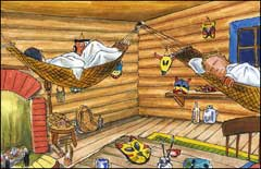 "Pic 19: '""You can tie them up right here."" He pointed to the sturdy roof beams...'"