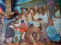 Pic 17: Aztecs bow down before the Spaniards: detail of mural by Antonio González Orozco, Hospital de Jesús Nazareno, Mexico City