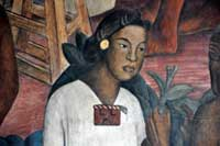 Pic 20: Indigenous woman; detail from a mural on the Spanish Conquest of Mexico by Diego Rivera, Palacio Nacional, Mexico City