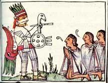 Pic 4: Aztec citizens worshipping Huitzilopochtli; Florentine Codex Book 3