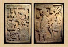 Pic 3: Dinteles de Yaxchilán, Final del Clásico, 600-900 d.C., Piedra, Chiapas, Museo Británico, Londres, Inglaterra; a) Dintel 24; 110 x 77 cm, b) Dintel 25; 129 x 85 cm