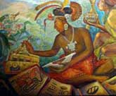 Pic 4: Artist's impression of a Maya scribe at work - detail from a mural on Maya society by Rina Lazo at the National Museum of Anthropology, Mexico City