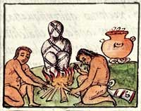 Pic 6: An Aztec death bundle being burnt