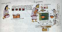 Pic 3: Ritual bathing and name giving of a new born baby, Codex Mendoza