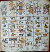 Pic 5: A section from the 'tonalpohualli' divinatory calendar, Codex Borgia