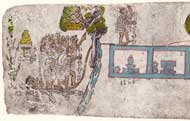 Pic 11: 'He of Atlixco': part of the migration legend of the Aztecs is depicted in this image from the Codex Mexicanus. Atlixco is represented in glyph form (bottom left) as the Place of Water in the Valley'