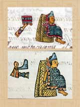 Pic 16: Motecuhoma I Ilhuicamina and Motecuhzoma II Xocoyotzin in the Florentine Codex