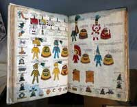 Pic 10: The original Codex Mendoza; featherwork shields are clearly visible as part of a tribute list (folio 22)