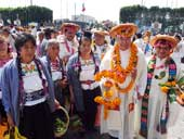 Pic 7: Tlacotencan women and Father Juan Ortiz (right) waiting for the Nahuatl language mass in the Basilica of the Virgin of Guadalupe in October 2015
