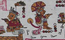 Pic 6: Section of the codex Añute (Selden) showing deteriorated blue in the skirt of the right figure as well as the seat on the left