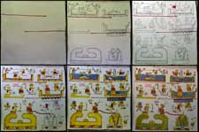 Pic 8: Different steps in the reconstruction process of codex Añute (Selden)