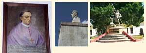 Pic 5: Bishop Diego de Landa; monuments to Cocom leaders