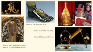 Pic 6: Examples of human remains preserved as religious icons in European churches