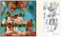 Pic 11: Detail from Bonampak Room 1 mural (left); Stela 13, Piedras Negras (right)