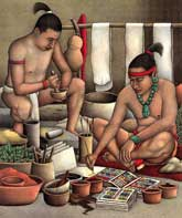 Pic 3: Artist's impression of Maya scribes painting, by Luis Garay