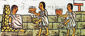Pic 3: A jug of cacao is offered to an Aztec noble. Florentine Codex