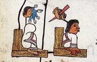 Pic 2: Following the death of Axayacatl (L), the new ruler Tizoc starts his reign. Codex Telleriano-Remensis fol. 38v (detail)