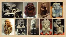 Pic 3: Assorted pre-Hispanic figures (humans and deities) in Mexican museums, all squatting
