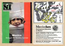 Pic 9: 'New Internationalist' special issue on Mexico Jan 1994; Mexicolore slide set on 'the Aztecs and their legacy' and advert