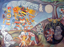 Pic 4: Birth and death in ancient Mesoamerica: detail from a mural by R. Anguiano (1964), National Museum of Anthropology, Mexico City