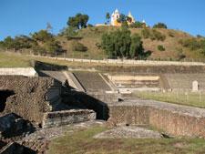 Pic 2: Patio de los altares, main pyramid, Cholula, with the church of Nuestra Señora de los Remedies on the hilltop