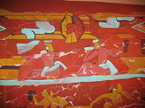 Reproduction of mural of the pulque drinkers from 200 CE, Cholula