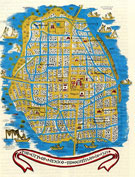 Pic 16: Map of Tenochtitlan in 1521 (illustration by Miguel Covarrubias)