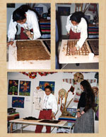 Pic 16: Otomí craftsman Humberto Trejo González demonstrates the traditional art of bark paper making at the Museum of Mankind, London, 1992. Also present is world expert on Mexican crafts Chloe Sayer