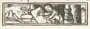 Pic 2: An Aztec scribe paints with 'xochipalli', a fine yellow colour. Florentine Codex Book 11