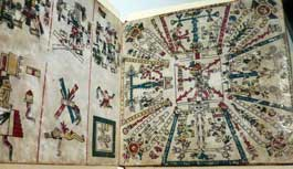 Pic 3: Centuries after it was painted, the original Codex Fejérváry-Mayer (on display at the World Museum Liverpool in 2015) has lost little of its vibrancy and lustre